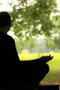 Un homme, de dos, méditant sous les arbres